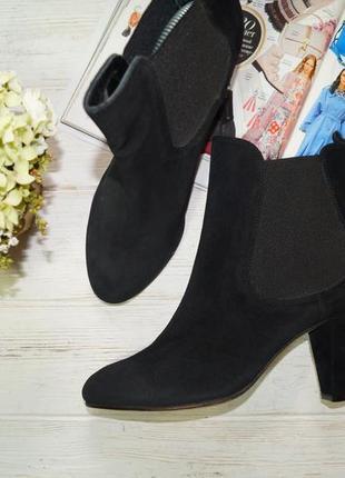 Monshoe. замша. стильные базовые ботинки челси на устойчивом каблуке