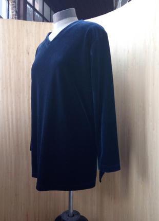 Синяя велюровая  блуза  оверсайз / кофта xl/xxl