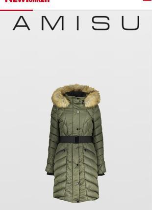 Зимнее пальто с капюшоном amisu