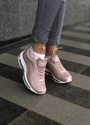 Женские розовые пудровые кроссовки nike air max 97