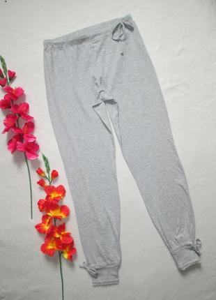 Классные домашние стрейчевые брюки серый меланж с красивыми манжетами maddison