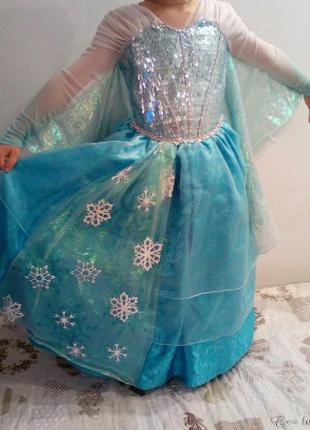 Красивое карнавальное платье принцессы эльза из мф фрозен холодное сердце