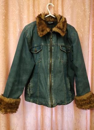 Итальянская джинсовая куртка на подкладке от giani feroti