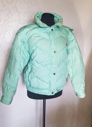 """Клевая короткая куртка """"шар"""" дутая мятного цвета  с открывающимися рукавами"""