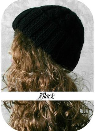 Любая расцветка! с помпоном и без! хлопковая шапка с отворотом/косы/чёрного цвета