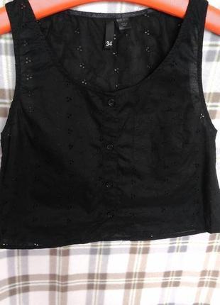 Черный модный легкий кроп топ выбитый узор