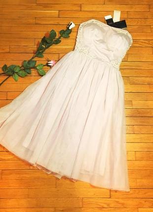 Вечернее коктейльное выпускное платье next 8 размер s сиреневый розовый пыльная роза