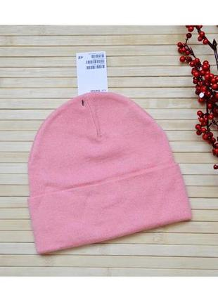 Стильная розовая шапка 23% шерсть h&m
