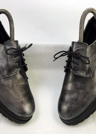 Женские дерби чёрные серебристые 37 размер кожаные на стопу стелька 23.5 см