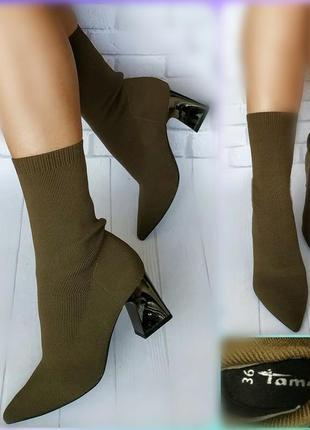 36-37р новые,трендовые ботинки чулки,цвет хаки