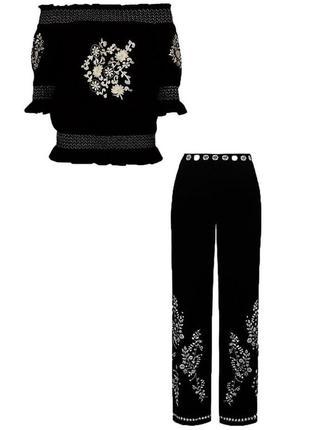 Шикарный стильный костюм блуза и брюки с вышивкой river island