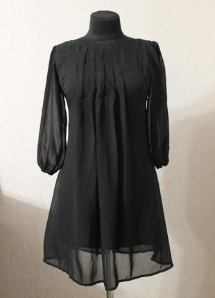 Шифоновое платье с рукавами фонариками,р.xs
