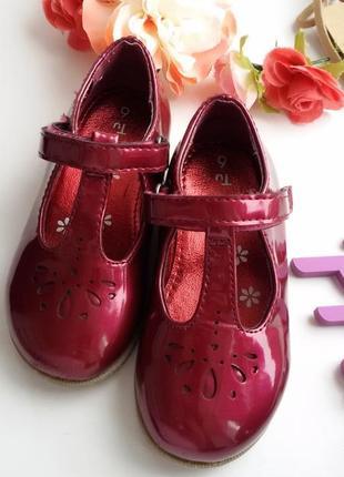 Лакированные туфли 15 см.,туфельки бордовые tu