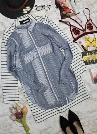 Обнова! рубашка удлиненная прямого кроя в полоску синяя белая качество накладные карманы