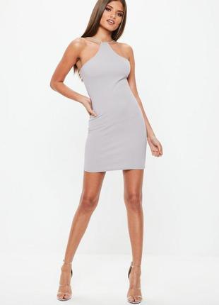 Сиреневое серое платье missguided