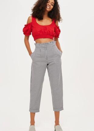 Крутые укороченные брюки с высокой посадкой topshop