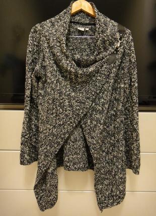 Крутой модный кардиган, кофта object грубой вязки меланж р. 46-48
