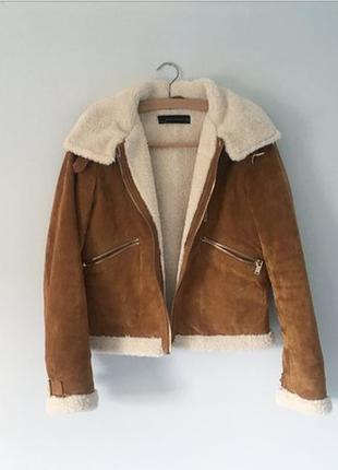 Кожаная замшевая коричневая куртка косуха дублёнка дубленка zara