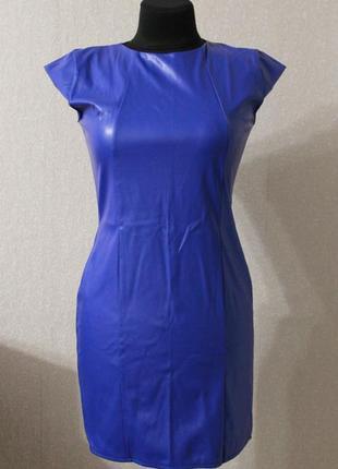 Платье кожзам,синее,р.xs-s