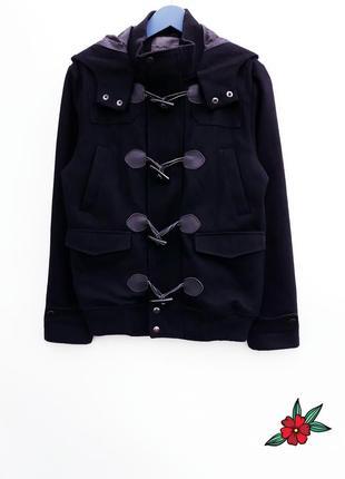 Мужское шерстяное пальто бомбер с капюшоном крутое пальто демисезон