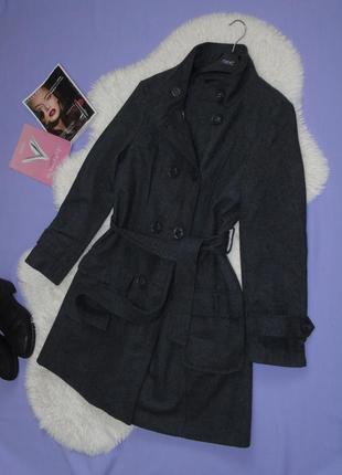 Новое двубортное серое пальто 10 размера/45% шерсть atmosphere