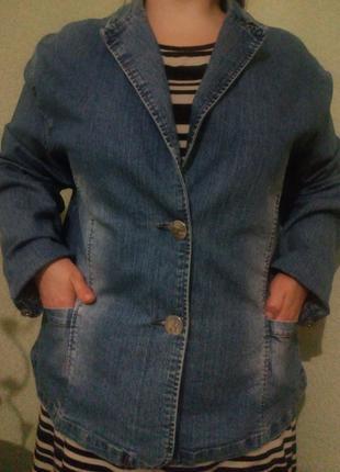 Джинсовый жакет пиджак куртка большого размера 56-58