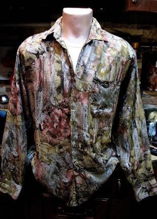 100% вискоза!  цветная рубашка прямого кроя