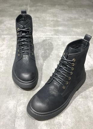 Стильные ,трендовые кожанные бывокие ботинки на шнуровке