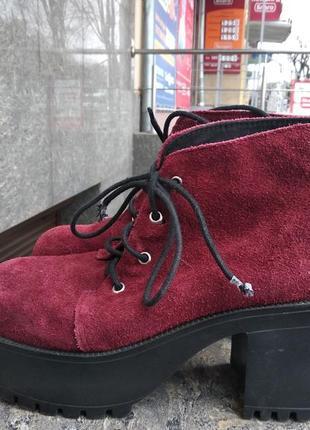 Замшевые ботинки,лоферы,туфли,38 р. на платформе
