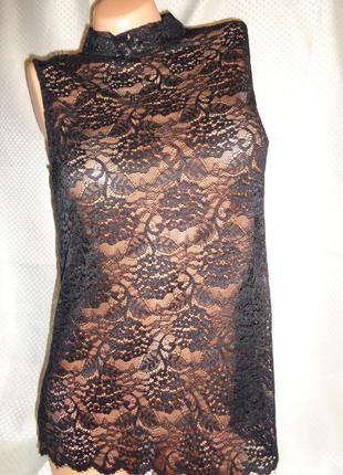 Гипюровая черная блузка