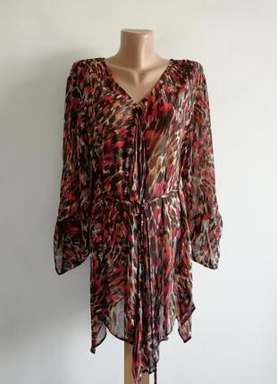 👑шикарное ассиметричное платье рубашка с леопардовым принтом 🐆полупрозрачное платье миди