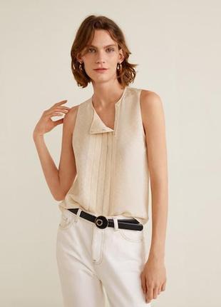 Базовый нюдовый блуза топ без рукава как шёлк mango