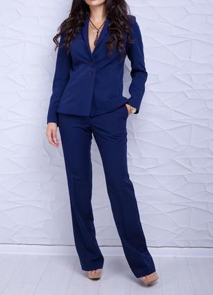 Женский темно-синий деловой брючный костюм с пиджаком/жакетом (9345 luzn)