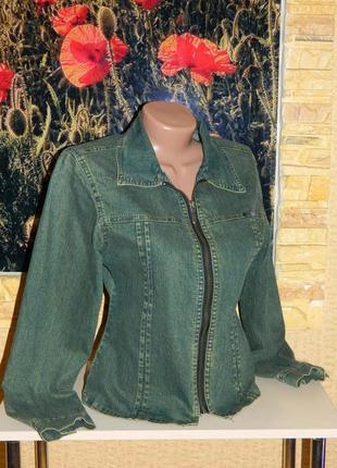 Куртка джинсовая зелёная женская размер 42-44 riel wear