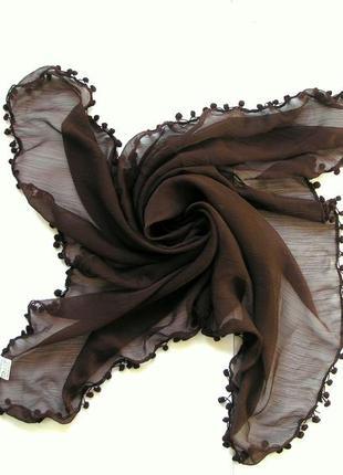 Шарф платок с помпончиками, гнилая вишня, испания,-104х100см-новый