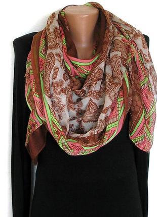 Яркий большой палантин шарф, восточные огурцы, -180х92см- новы