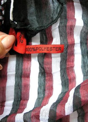 Стильный жатый палантин шарф, полоска, франция-176х59см- новый, с биркой3