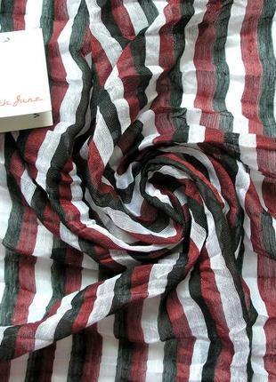 Стильный жатый палантин шарф, полоска, франция-176х59см- новый, с биркой