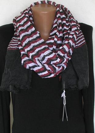 Стильный жатый палантин шарф, полоска, франция-176х59см- новый, с биркой4