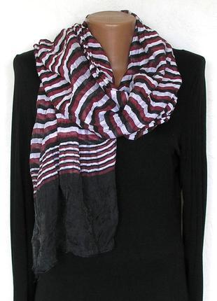 Стильный жатый палантин шарф, полоска, франция-176х59см- новый, с биркой5