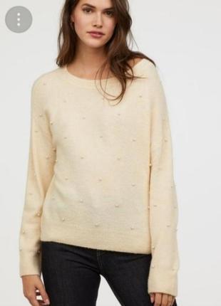 Джемпер свитер с бусинками h&m zara