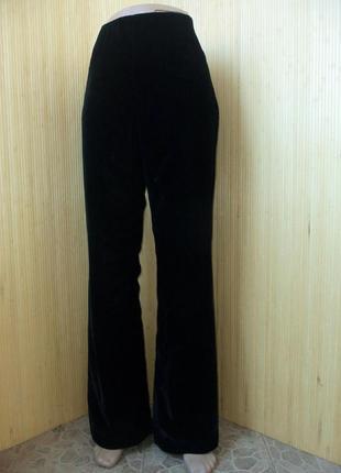Чёрные брюки велюр   высокая талия l/xl