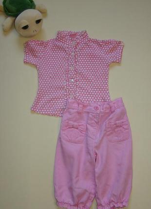 Яркий комплект малышке 1.5-2 годика блуза + льняные бриджи