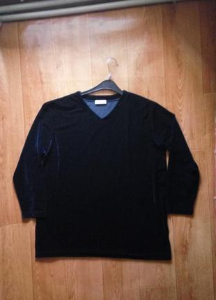 Синяя велюровая  блуза  оверсайз / кофта xl/xxl5