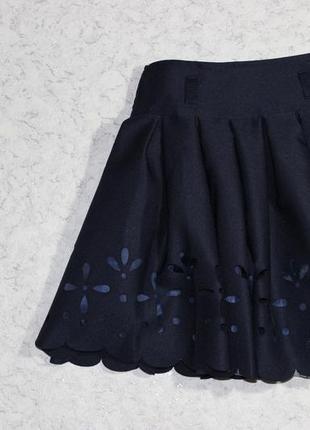 Темно-синяя юбка-солнцеклеш с перфорацией, турция