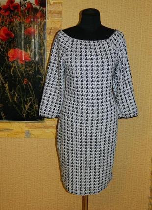 Платье новое белое с чёрным зигзагом р. 46-48.