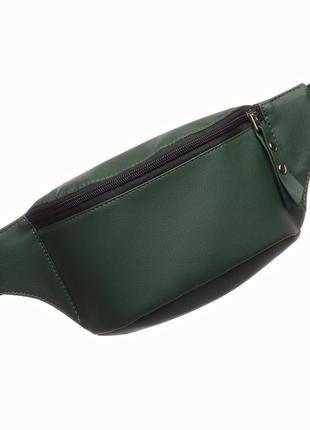Зелёная женская бананка сумка на пояс, плече с экокожи