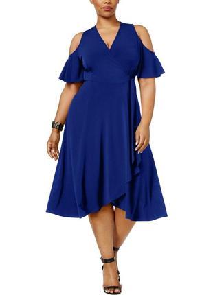 """Нарядное платье а-силуэт """"на запах"""", с короткими рукавами и вырезами по плечам,на 50-52 рр"""