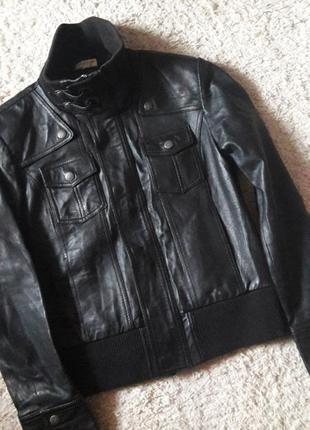 Куртка кожаная бомбер натуральная кожа