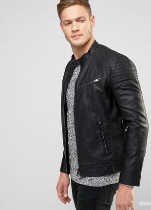 Мужская кожаная куртка бомбер asos кожа натуральная